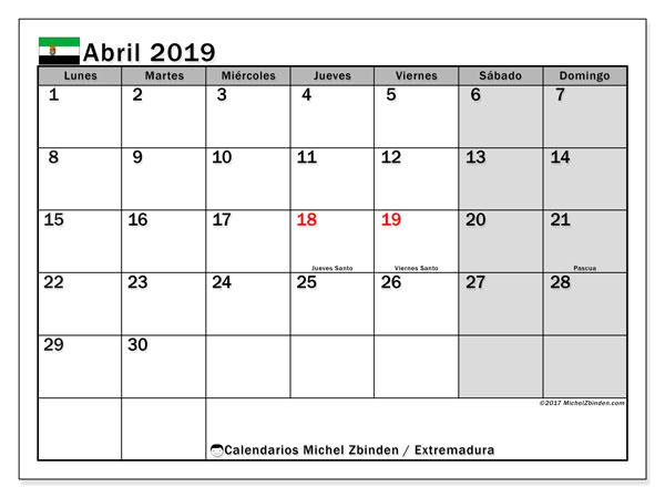 Calendario abril 2019, con los días festivos de Extremadura. Calendario para imprimir gratis.