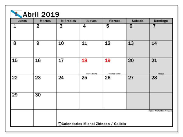 Calendario abril 2019, con los días festivos en Galicia. Calendario para el mes para imprimir gratis.