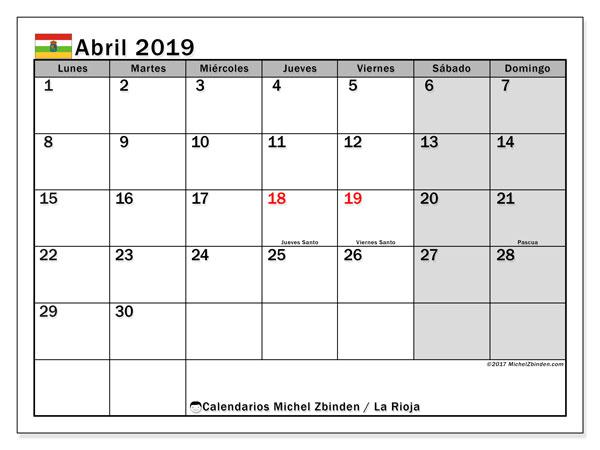 Calendario abril 2019, con los días festivos de La Rioja. Calendario gratuito para imprimir.