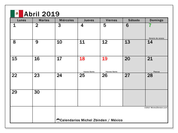 Calendario abril 2019, con los días feriados en México. Calendario para el mes para imprimir gratis.