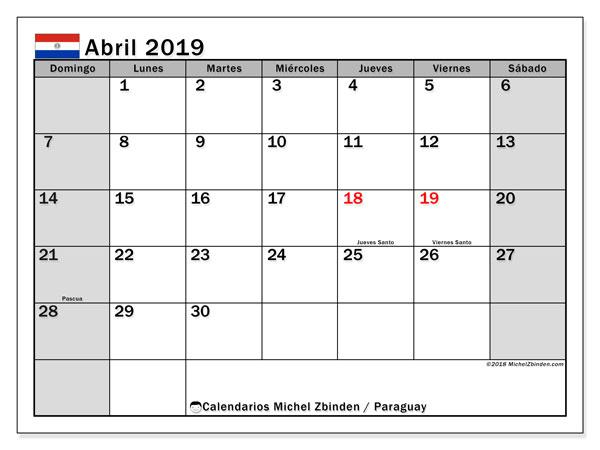 Calendario abril 2019, con los días feriados en Paraguay. Calendario imprimible gratis.