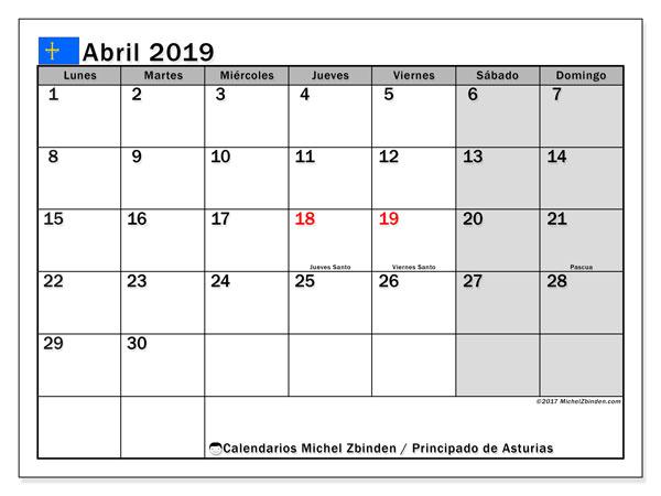 Calendario abril de 2019 - Principado de Asturias. Calendario para imprimir: fiestas oficiales.