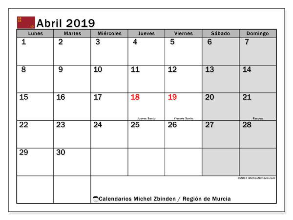 Calendario 2019 Murcia.Calendario Abril 2019 Region De Murcia Espana Michel Zbinden Es