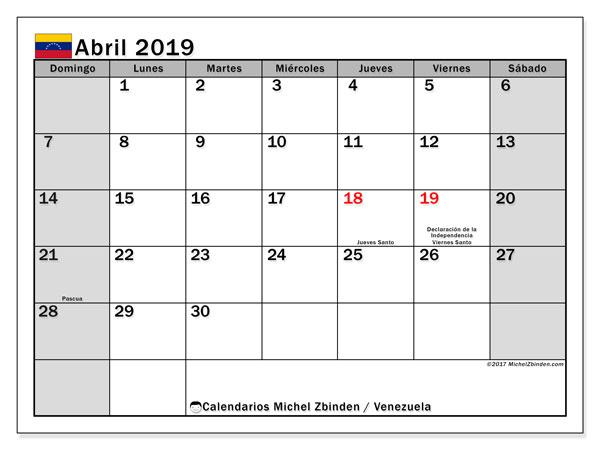 Calendario abril 2019, con los días feriados para Venezuela. Calendario mensual para imprimir gratis.