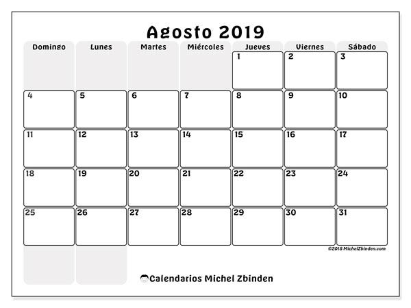 Calendario agosto 2019, 44DS. Calendario mensual para imprimir gratis.
