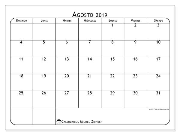Calendario agosto 2019, 51DS. Calendario imprimible gratis.