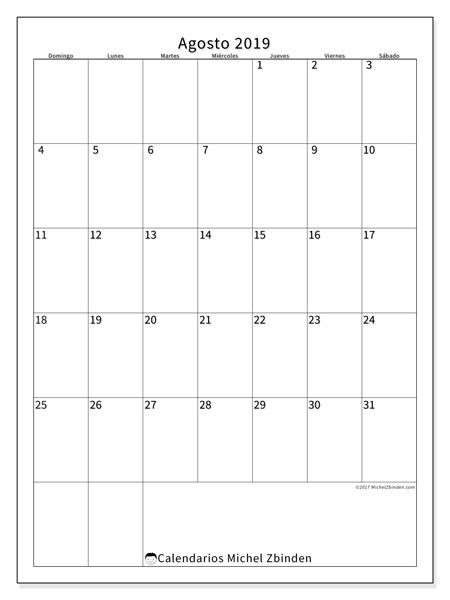 Calendario agosto 2019, 52DS. Calendario mensual para imprimir gratis.