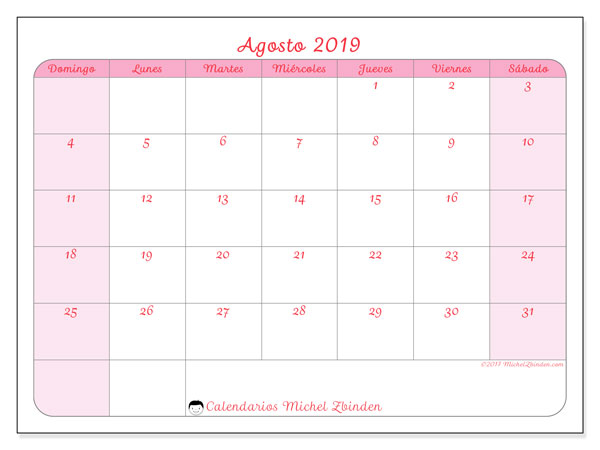 Calendario agosto 2019, 63DS. Calendario imprimible gratis.