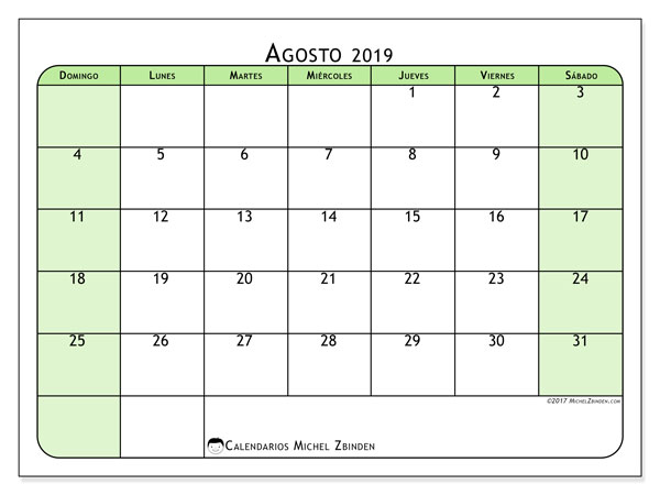 Calendarios para imprimir 2019 (DS). Calendario 65DS.
