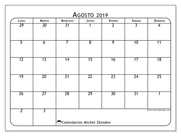 Calendario agosto 2019, 67LD. Calendario para imprimir gratis.