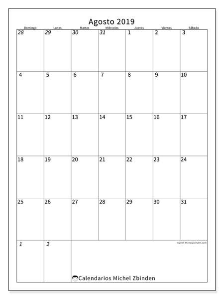 Calendario  agosto de 2019, 68DS