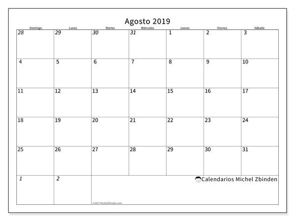 Calendario agosto 2019, 70DS. Calendario imprimible gratis.