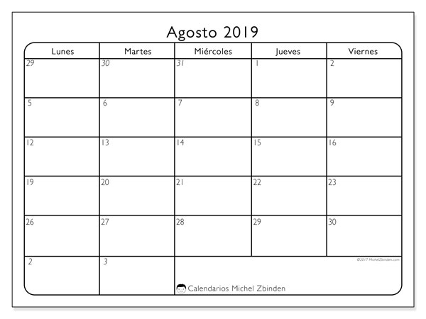 Calendario agosto 2019, 74DS. Calendario imprimible gratis.