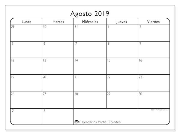 Calendario agosto 2019, 74LD. Calendario imprimible gratis.