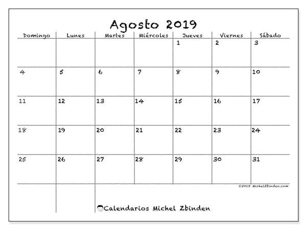 Calendario agosto 2019, 77DS. Calendario para imprimir gratis.