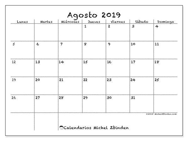 Calendario agosto 2019, 77LD. Calendario mensual para imprimir gratis.