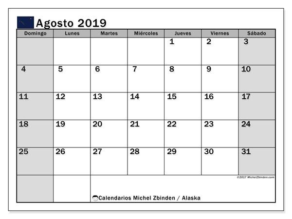 Calendario agosto 2019, con días feriados en Alaska. Calendario vacaciones y festivos para imprimir gratis.