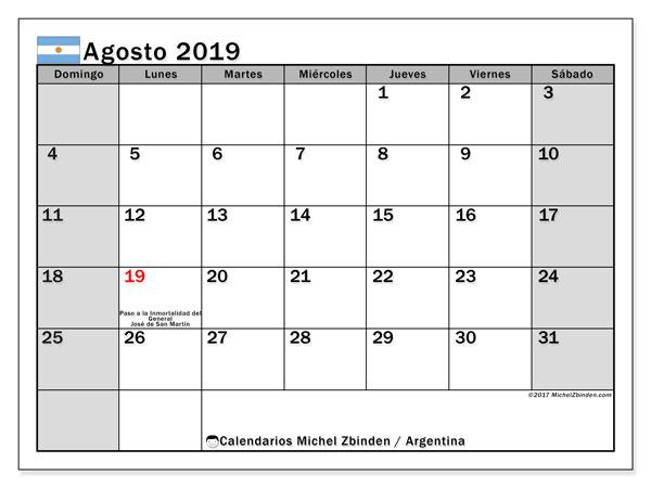 Calendario agosto 2019, con los días feriados en Argentina. Calendario imprimible gratis.