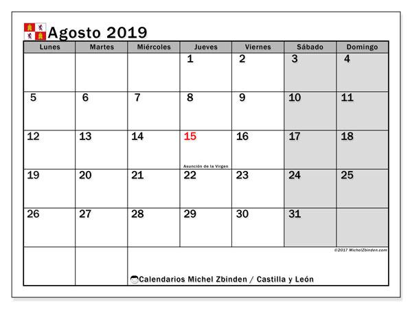 Calendario agosto 2019, con días feriados de Castilla y León. Calendario para imprimir gratis con días festivos.