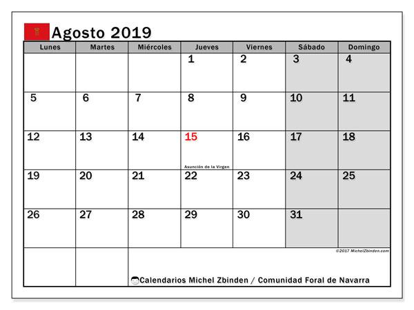 Calendario agosto 2019, con los días festivos para la Comunidad Foral de Navarra. Almanaque para imprimir gratis.