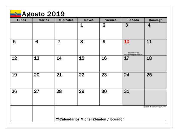 Calendario agosto 2019, con los días feriados para Ecuador. Calendario imprimible gratis.