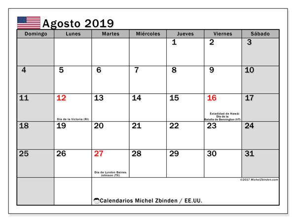 Calendario agosto 2019, con días feriados de EE.UU.. Calendario para imprimir gratis con días festivos.