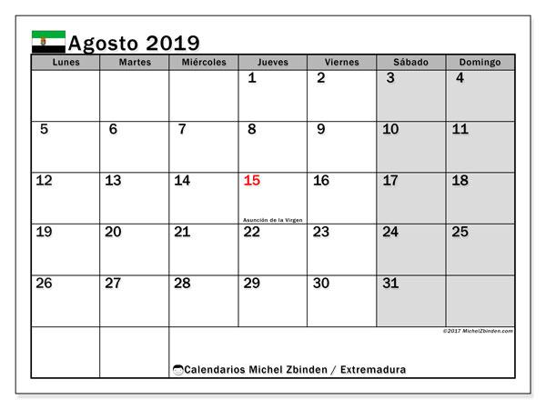 Calendario agosto 2019, con días feriados en Extremadura. Calendario vacaciones y festivos para imprimir gratis.