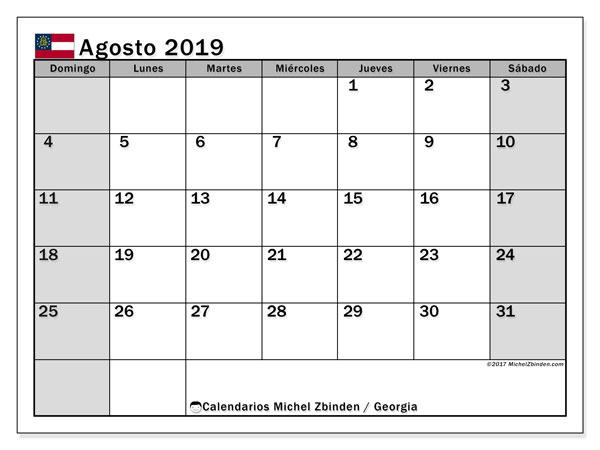 Calendario agosto 2019, con días feriados en Georgia. Calendario para imprimir gratis con días festivos.