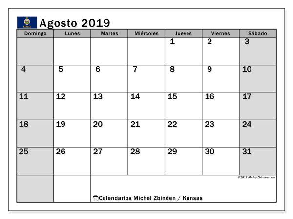 Calendario agosto 2019, con días feriados de Kansas. Calendario vacaciones y festivos para imprimir gratis.