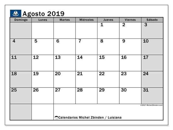 Calendario agosto 2019, con días feriados en Luisiana. Calendario vacaciones y festivos para imprimir gratis.