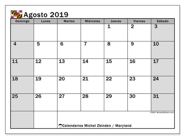 Calendario agosto 2019, con días feriados en Maryland. Calendario para imprimir gratis con días festivos.