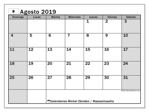 Calendario agosto 2019, con días feriados en Massachusetts. Calendario vacaciones y festivos para imprimir gratis.