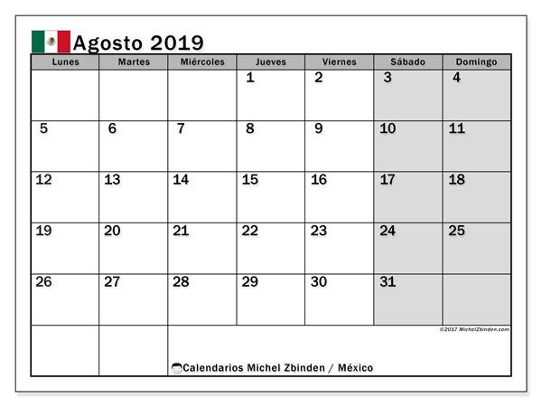 Calendario agosto 2019, con los días feriados en México. Calendario imprimible gratis.