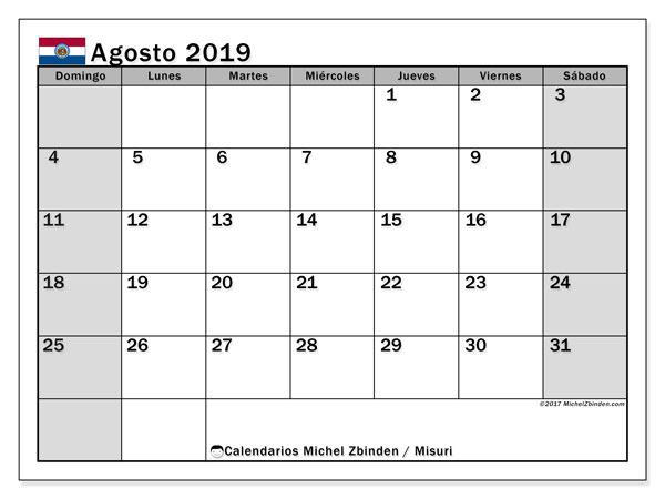 Calendario agosto 2019, con días feriados en Misuri. Calendario vacaciones y festivos para imprimir gratis.