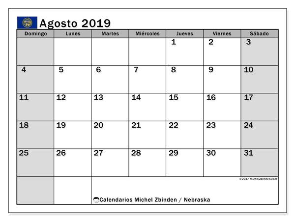 Calendario agosto 2019, con días feriados de Nebraska. Calendario para imprimir gratis con días festivos.