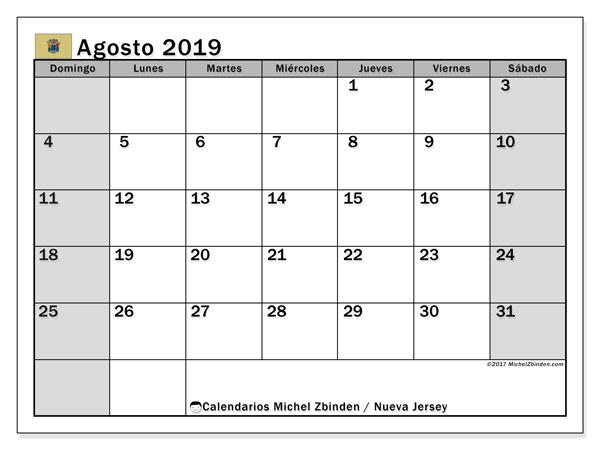 Calendario agosto 2019, con días feriados en Nueva Jersey. Calendario vacaciones y festivos para imprimir gratis.