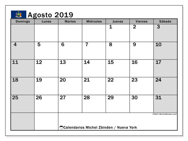 Calendario agosto 2019, con días feriados en Nueva York. Calendario vacaciones y festivos para imprimir gratis.