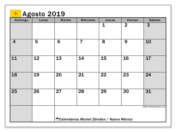 Calendario agosto 2019, con días feriados en Nuevo México. Calendario vacaciones y festivos para imprimir gratis.