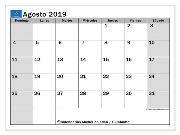 Calendario agosto 2019, con días feriados de Oklahoma. Calendario para imprimir gratis con días festivos.
