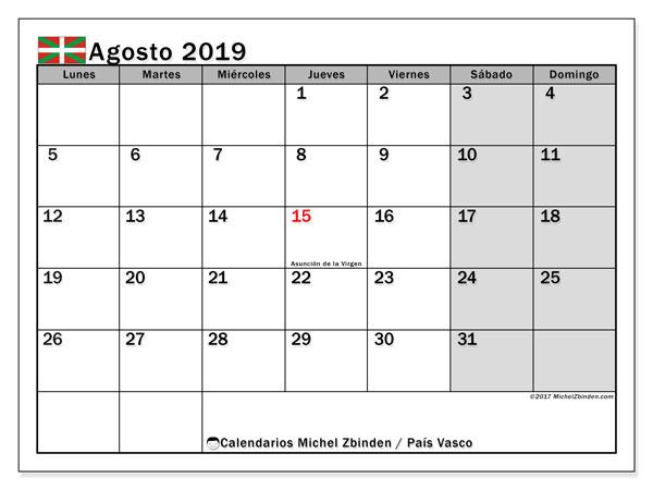 Calendario agosto 2019, con días feriados en el País Vasco. Calendario para imprimir gratis con días festivos.