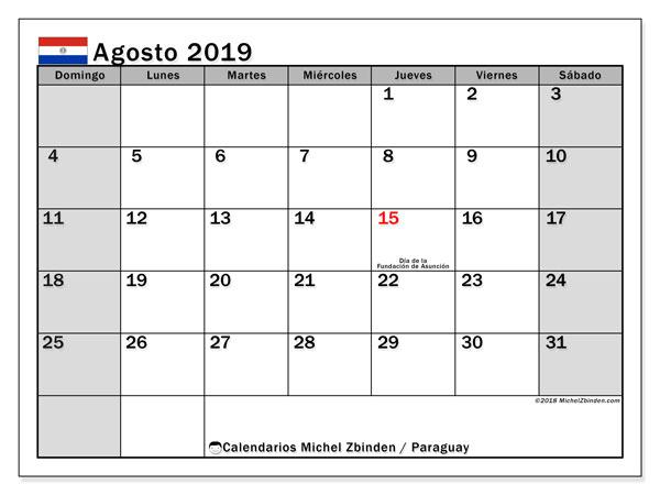Calendario agosto 2019, con días feriados en Paraguay. Calendario vacaciones y festivos para imprimir gratis.