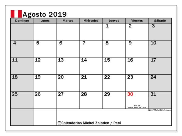 Calendario agosto 2019, con los días feriados para Perú. Calendario imprimible gratis.