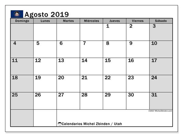 Calendario agosto 2019, con días feriados de Utah. Calendario vacaciones y festivos para imprimir gratis.
