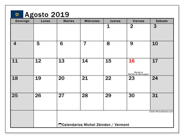 Calendario agosto 2019, con días feriados de Vermont. Calendario para imprimir gratis con días festivos.