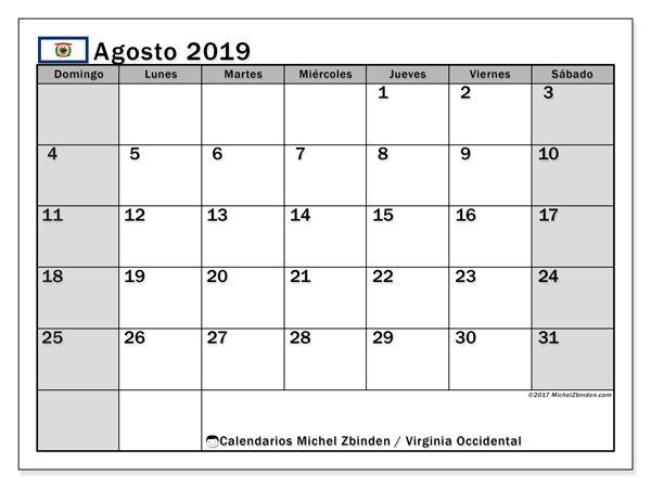 Calendario agosto 2019, con días feriados de Virginia Occidental. Calendario para imprimir gratis con días festivos.