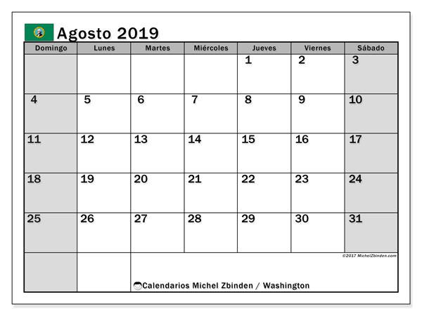 Calendario agosto 2019, con días feriados de Washington. Calendario vacaciones y festivos para imprimir gratis.