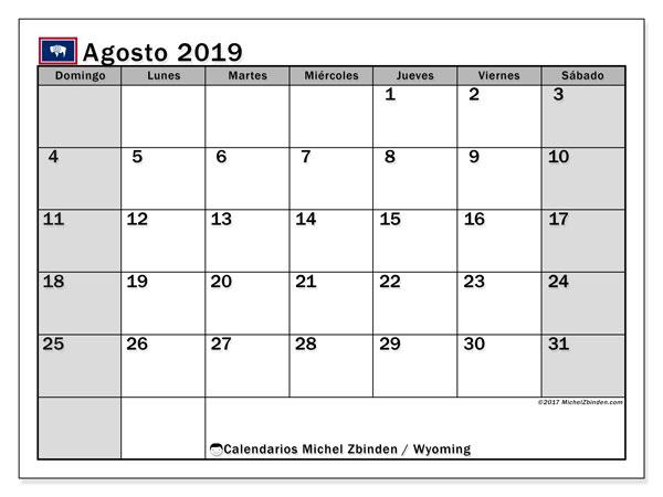 Calendario agosto 2019, con días feriados de Wyoming. Calendario vacaciones y festivos para imprimir gratis.