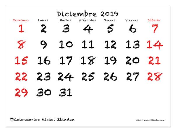 Calendario diciembre 2019, 46DS. Calendario para el mes para imprimir gratis.