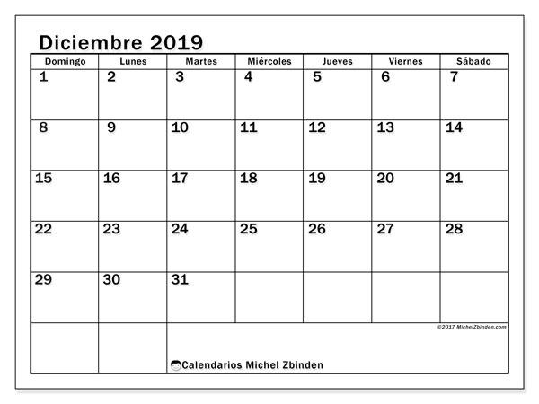 Calendario diciembre 2019, 50DS. Calendario para el mes para imprimir gratis.