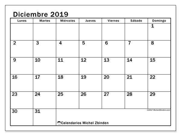 Calendario diciembre 2019, 50LD. Almanaque para imprimir gratis.